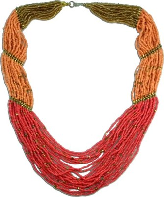The Fine World Radiant Peach Chunky Neck piece With Touch Of Golden Colors Metal Necklace