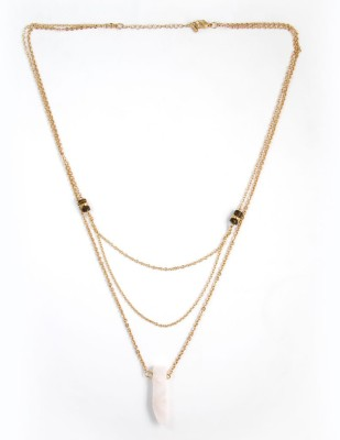 Zahra Jani ZJ Layer Pink Transp Necklace Metal Chain