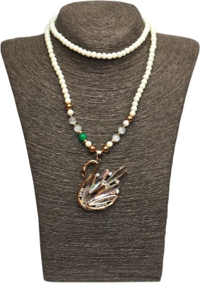 Outdazzle Designer White Pearl with Duck Pendant Metal Necklace