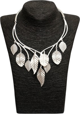 Outdazzle Designer Silver Leafs Metal Necklace