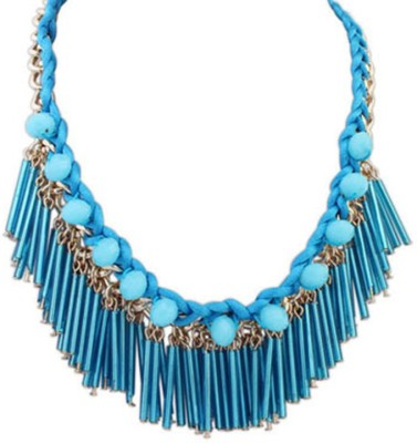 Jewel Touch Boutique Blue Tassel Decorated Weave Design Alloy, Acrylic Necklace