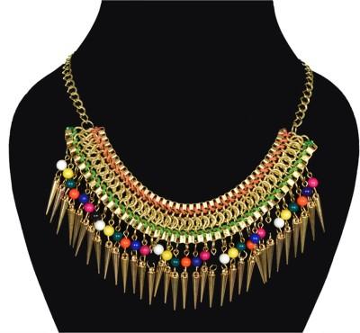 minha Emerald Brass Plated Metal Necklace