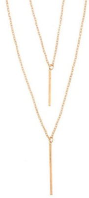 Young & Forever Chic Hanging Vertical Bar Multilayer Delicate Strand Alloy Necklace