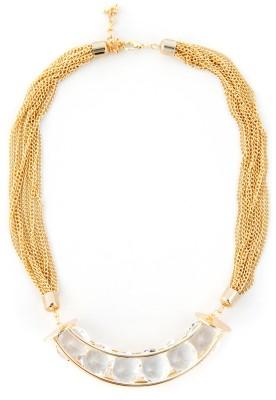 Zahra Jani ZJ Crescent Clear Stone Necklace Metal Chain