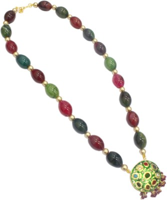 Eighth Fold Beads Brass Plated Brass Necklace at flipkart