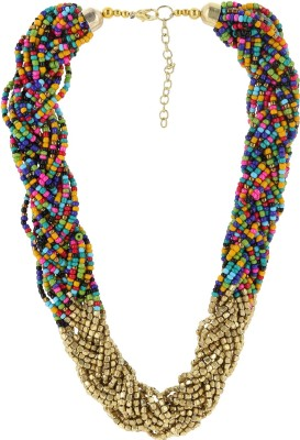 Eastern Roots Colorful Spree Metal, Glass Choker