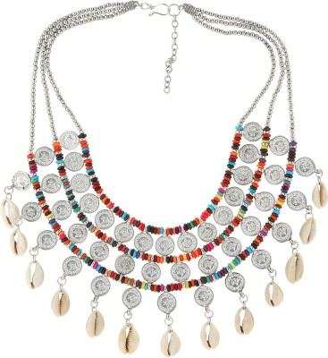 Eastern Roots Tribal Metal, Shell Necklace