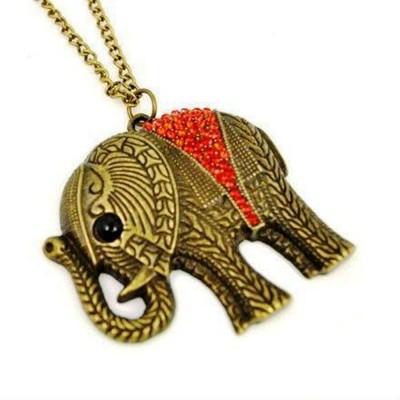 "SENECIOâ""¢ Red Crystal Elephant Rhinestone Studded Long Chain Lucky Charm Unisex Bronze Necklace"