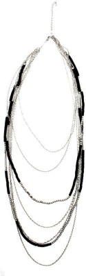 Joyeria Milan Black Silver Multistrands Resin Necklace