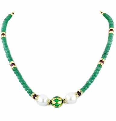 Avaatar Colombian Emerald With Rubies ,Pearls and Designer Vintage Beads Stone Necklace