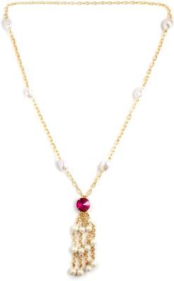 Zahra Jani ZJ Pink Stone Pearl Necklace Metal Chain