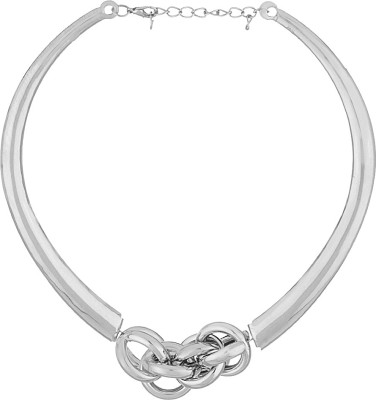 Voylla Artificial Classic Plain Silver Plated Alloy Necklace at flipkart