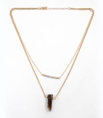 Zahra Jani ZJ Layer Black Transp Necklace Metal Chain