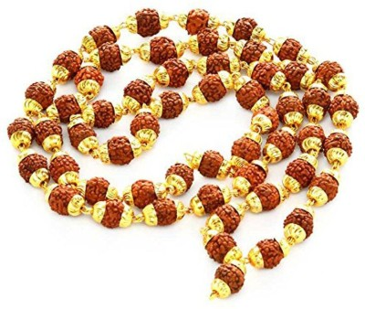 Malabar Gems Rudraksha Mala with Golden Caps Yellow Gold Plated Alloy Chain at flipkart