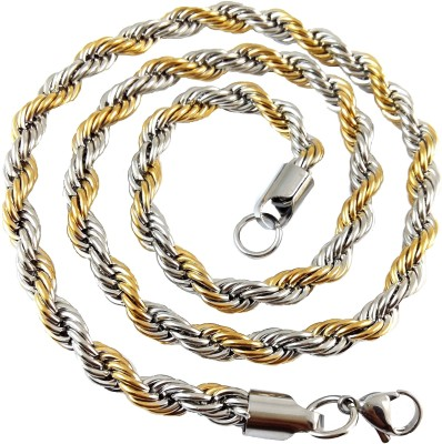 Ammvi 23.5,, Two-Tone Rope Pattern for Men Stainless Steel Chain