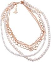 SENECIO™ Korean Fashion Delicate Chains Multi-Layer Imitation Beaded Pearl Rose Gold Plated Alloy Necklace