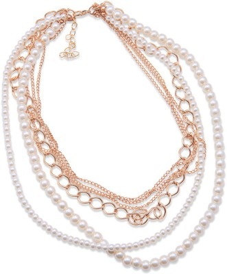 """SENECIOâ""""¢ Korean Fashion Delicate Chains Multi-Layer Imitation Beaded Pearl Rose Gold Plated Alloy Necklace"""