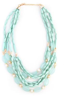 Zahra Jani ZJ Sea Green Oval Layer Necklace Metal Chain
