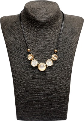Outdazzle Designer Off-White Stone Metal Necklace Set