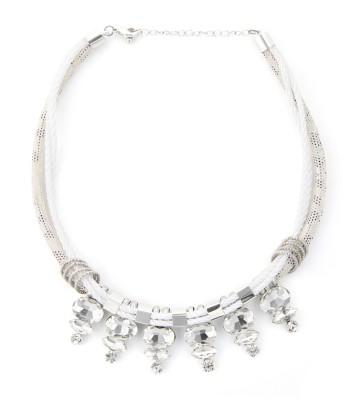 Zahra Jani ZJ White Rope Stone Necklace Metal Chain