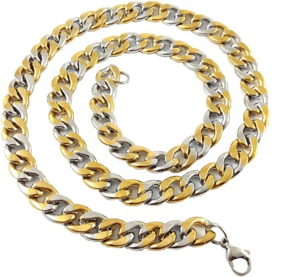 Ammvi 23.5,, Cuban Links Two-Tone Luxury Thick & Broad for Men Stainless Steel Chain