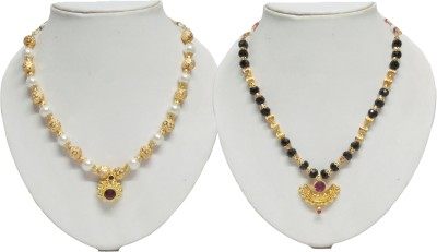 Swapnagandha Jewellery Yellow Gold Plated Copper Necklace Set