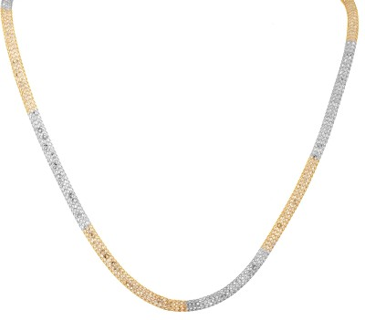 Alysa Two Tone AD Filled Cubic Zirconia, Ruby Yellow Gold, Rhodium Plated Alloy Chain