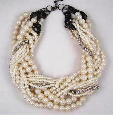 """SENECIOâ""""¢ Bridal Wedding Collection Heavy Multi-Layer Twist Weave Rope White Imitation Beaded Pearl Wrapped Alloy Necklace"""