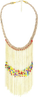 Eastern Roots Beaded Metal, Jute, Glass Necklace