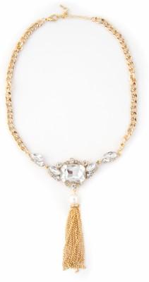 Zahra Jani ZJ Clear Stone Tassel Necklace Metal Chain