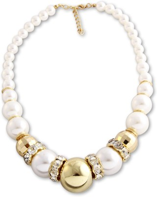Young & Forever Princess Oversize Pearlicious Alloy, Mother of Pearl, Crystal Necklace