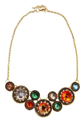 Young & Forever Cleopetras Love Tangerine Orange Alloy, Crystal Necklace