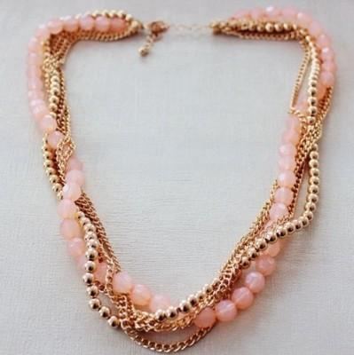 Fabula Pink & Gold Multi layer Beads Jewellery for Women, Girls & Ladies Metal Necklace at flipkart