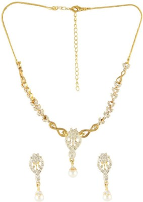 DG Jewels Beautiful Crystal 24K Yellow Gold Plated Alloy Necklace Set