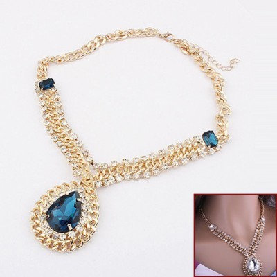 Amour Gold Pleated Blue Sapphire Pendant Necklace Fashion Jewelry Alloy Necklace