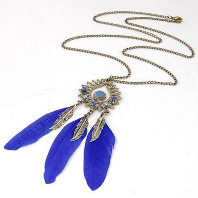 "SENECIOâ""¢ Triple Feathers Royal Blue Rhinestone Studded Dangle Pendant Fashion Alloy Necklace"
