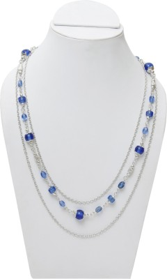 Galz4ever Classy Silver Strings Blue Bead Faishanable Alloy Necklace