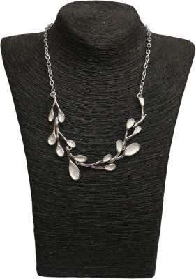 Outdazzle Designer Silver Floral with Earings Metal Necklace Set
