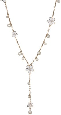 Fayon Daily Casual Work Spring Flowers and Pearl Charms Long Alloy Necklace