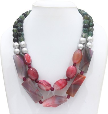 Eighth Fold Layered Blush Agate Brass Plated Brass Necklace at flipkart