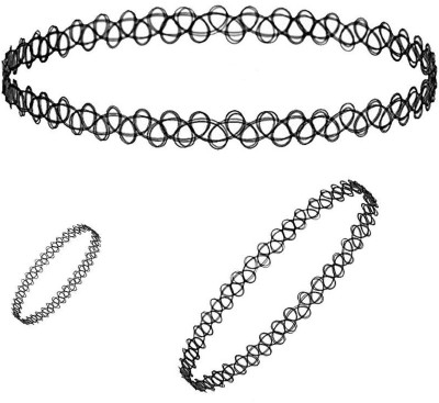 Bijoux Fake Tattoo Choker Necklace Plastic Necklace Set