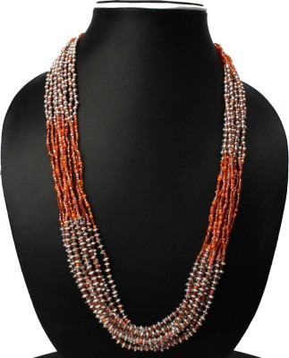 Joyeria Milan Orange And Silver Beaded Resin Necklace