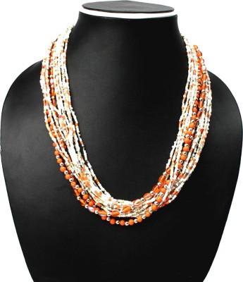 Joyeria Milan Orange And White Multistrand Resin Necklace