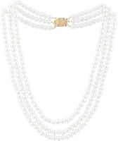 Factorywala Pearl Beads Jewellery Beaded Triple Layer Silver Plated Alloy Necklace