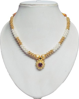 Swapnagandha Jewellery Yellow Gold Plated Copper Necklace