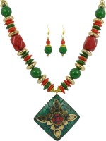 Reiki Crystal Products Reiki Crystal Products Feng Shui Beautiful Beaded Designer Fashion Jewellery Green & Red Necklace With Earring for Women Resin  best price on Flipkart @ Rs. 525