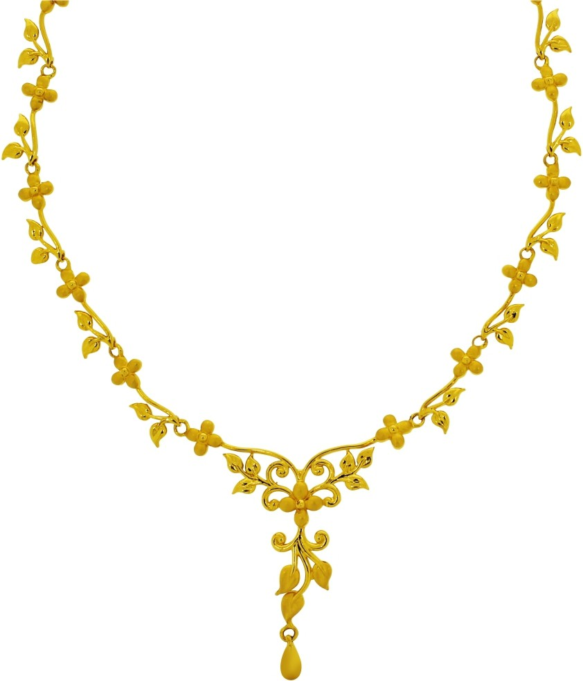 Kalyan Jewellers Moulding Flower Gold Necklace in Thoothukudi ...