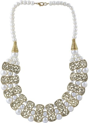 minha Pearl Brass Plated Metal Necklace