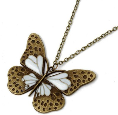 "SENECIOâ""¢ Enamel Butterfly Pendant Long Chain Vintage Look Bronze Necklace"