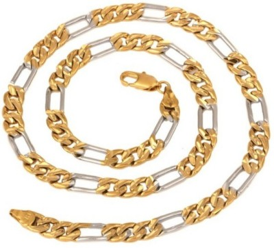 Adarsh Yellow Gold, Platinum Plated Stainless Steel Chain